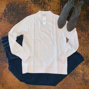NWT Loft Ruffle Cuff Mock Neck Sweater